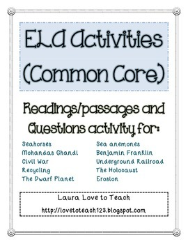 ELA Common Core Activities