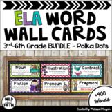 ELA Common Core Word Wall 3rd-6th BUNDLE - Polka Dot
