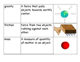 E.S. Force and Motion Vocabulary Cards