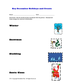 ESL December holiday flashcard packet