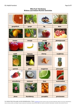 ESL Fruit Vocabulary