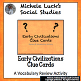 Early Civilizations & Geography Clue Cards for Games, Revi