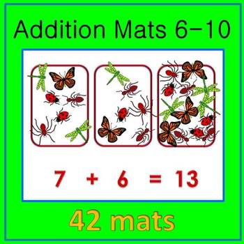 Math Centers: Early Math Addition Mats - Numbers 6-10 for