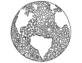 Earth Day Globe World Coloring Page