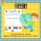 Earth Day Kindergarten Math Extended Response FREEBIE