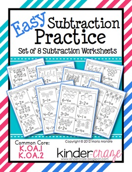 Easy Subtraction Practice - Set of 8 Subtraction Intro Worksheets