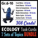 Ecology Task Cards BUNDLE - 7 Sets of Topics {With Editabl