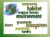 Ecosystems Vocabulary Study Guide and Quiz- Third Grade