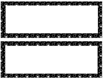 Editable Black Dot Nametags Desktags and Classroom Labels