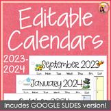 Editable Calendars for Teachers 2014-2015