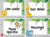 Editable Chevron Jungle Job Cards
