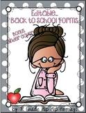 Editable Classroom forms...Bonus Teacher Binder Cover!