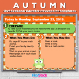 Editable FALL Owl Themed Morning Work PowerPoint Templates