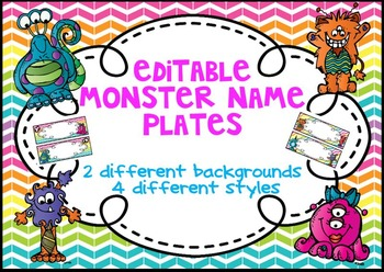 Editable Monster Rainbow Chevron Name Plates/ Desk Plates/
