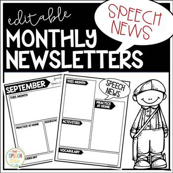 Editable Monthly Newsletters For Speech & Language Therapy