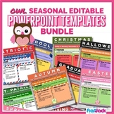 Editable Owl Themed Morning Work PowerPoint Templates Pack