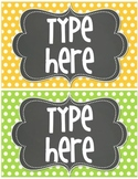 Editable Polka Dot TAGS- {Bright Polka Dot with Chalkboard