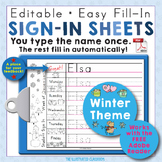 Editable Print-Practice Weekly Sign In Sheets - Winter Theme