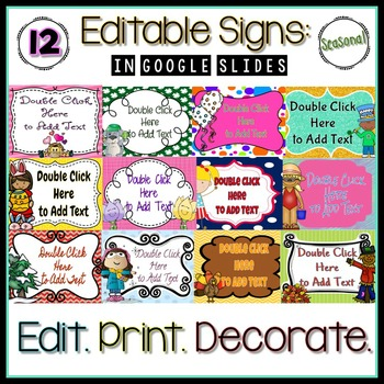 Editable Seasonal Signs: Google Slides {50% off!}