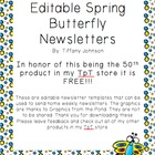Classroom Newsletter in Spring Butterfly Freebie