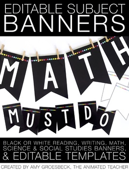 Editable Subject Banner – Black and Brights