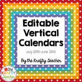 2015-2016 Editable, Vertical, Calendars Dot & Chevron Rain