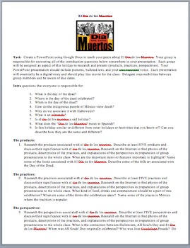 El Día de los Muertos PowerPoint Group Project