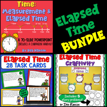 Elapsed Time & Measurement Bundle: PowerPoint, Craftivity, Task Cards