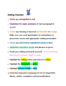Elementary Color-Coded Writing Editing Checklist