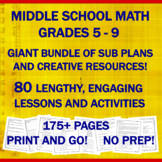 "Middle School Math ""NO PREP"" Printables: Emergency Sub Pla"