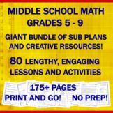 "Middle School Math ""NO PREP"" Printables: Emergency Sub Pla"