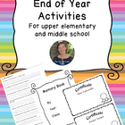End of the Year Activities~ for Upper Elementary and Middl