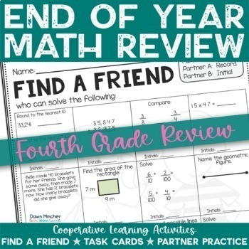 End of the School Year: Math Review of Grade 4 Concepts - CCSS Aligned