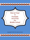 End of the Year FUN Activities for Middle School
