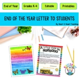 End of the Year Letter From My Teacher {Editable}