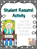"""End of the Year Writing, Student """"Resume"""" Writing for New Teacher"""
