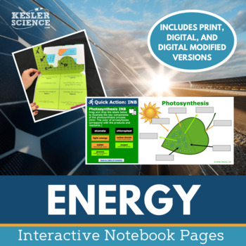 Energy Interactive Notebook Pages - Energy Types, Potential & Kinetic, & More