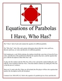 Equations of Parabolas: I Have, Who Has?
