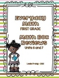 Everyday Math: First Grade Math Box Reviews (Units 6 and 7)