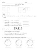 Everyday Math, Grade 3, Unit 1 Review Worksheet #4