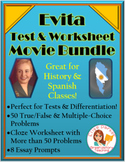 Evita Movie Bundle -- Cloze Worksheet AND Questions Set