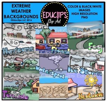 Extreme Weather Backgrounds Clip Art Bundle
