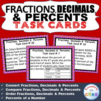 FRACTIONS, DECIMALS, & PERCENTS Word Problems - Task Cards