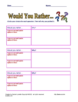 FREE 2 Would You Rather Question Response Templates