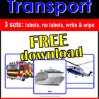 """FREE Photo Picture Flash Cards """"Transport - Vehicles"""" Spee"""