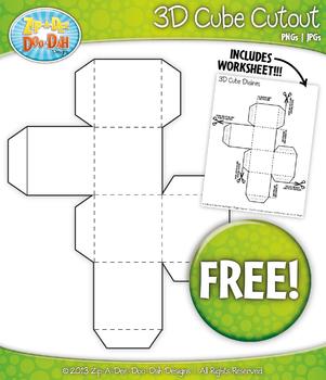 FREE 3D Blank Cube Block Cutout — Includes Worksheet!