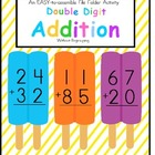 FREE File Folder Game Double Digit Addition Without Regrou
