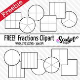 FREE! Fractions Clip Art ~ Black & White Outlines