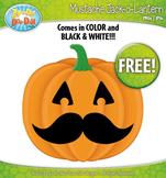 FREE Halloween Mustache Jack-O-Lantern Pumpkin Clip Art Graphics