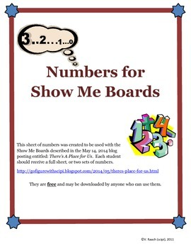 FREE Numbers for Show Me Boards